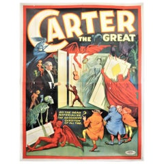 Huge Original Art Deco 'Carter the Great' the Magician Travelling Show Poster