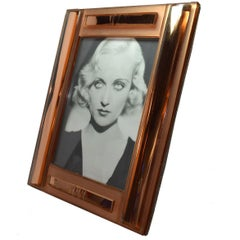 Huge Art Deco Peach Mirrored Bevelled Glass Picture Frame, circa 1930