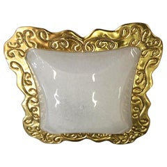 Huge Art Deco Style Square Murano Glass and Gold Modern Flushmount