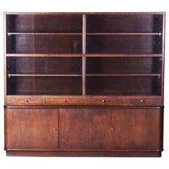 Huge Art Deco Walnut Two-Part Bookcase from Czechoslovakia by Jindrich Halabala