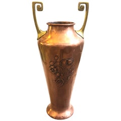 Huge Art Nouveau Brass and Copper German Vase by WMF, circa 1900
