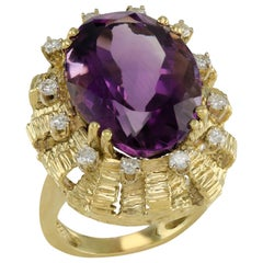 Huge Artistic 30.0 Carat Amethyst and Diamond Gold Cage Cocktail Ring
