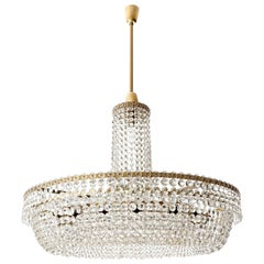 Huge Bakalowits Chandelier No. 3330, Nickel Brass Crystals, 1960s