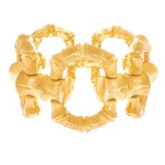 Huge Bamboo Motif Gold Bracelet