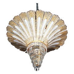 Barovier Toso Attributed Murano Gold Palm Tree Chandelier