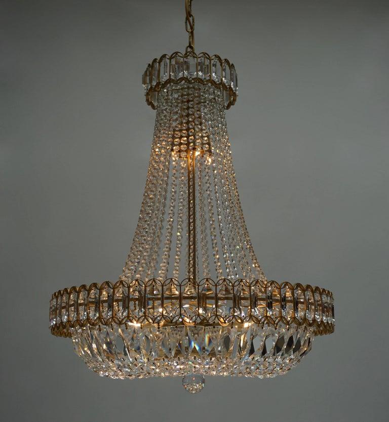 Gilt Huge Beautiful Crystal Bakalowits Chandelier For Sale