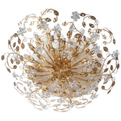 Huge Bras and Crystal Flush Mount Chandelier