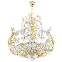 Huge Brass and Crystal Chandelier, Designed by Palwa, Germany, 1970s