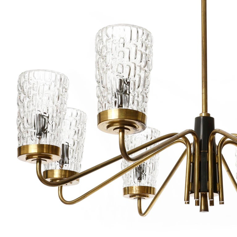 Painted Huge Brass and Glass Chandelier by Rupert Nikoll, Austria, 1960 For Sale