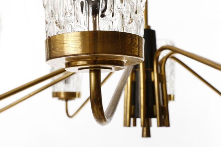Metal Huge Brass and Glass Chandelier by Rupert Nikoll, Austria, 1960 For Sale