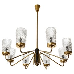 Huge Brass and Glass Chandelier by Rupert Nikoll, Austria, 1960