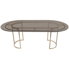 Huge Brass and Glass Dining Table by Romeo Rega