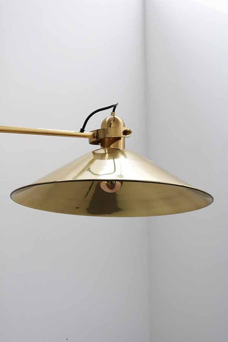 Huge Brass Floor Lamp with Counterweight by Florian Schulz, Germany For Sale 6