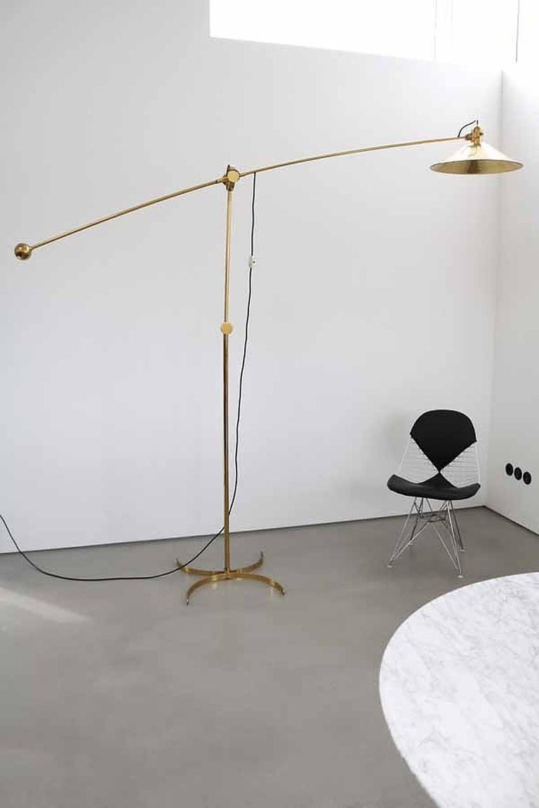 Huge Brass Floor Lamp with Counterweight by Florian Schulz, Germany For Sale 11