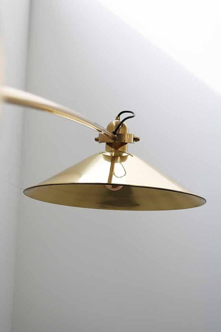 Huge Brass Floor Lamp with Counterweight by Florian Schulz, Germany For Sale 5