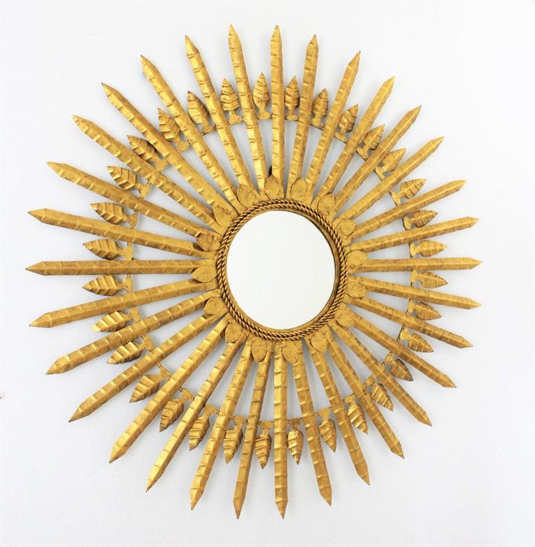 Mid-Century Modern Huge Brutalist Hand-Hammered Gilt Iron Leafed Sunburst Mirror, Spain, 1950s For Sale