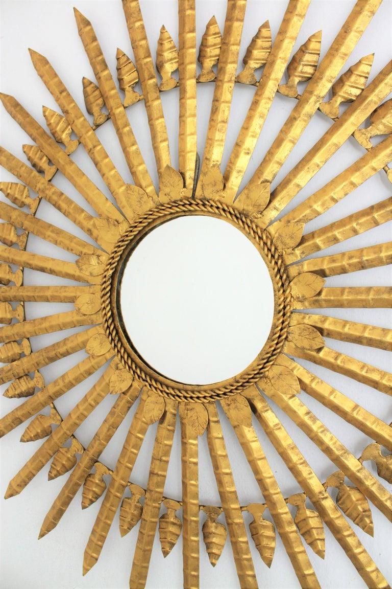 Huge Brutalist Hand-Hammered Gilt Iron Leafed Sunburst Mirror, Spain, 1950s In Excellent Condition For Sale In Barcelona, ES