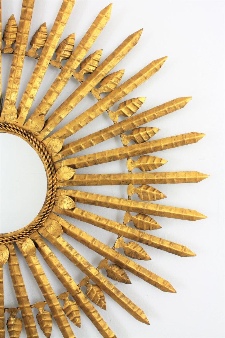 Huge Brutalist Hand-Hammered Gilt Iron Leafed Sunburst Mirror, Spain, 1950s For Sale 1