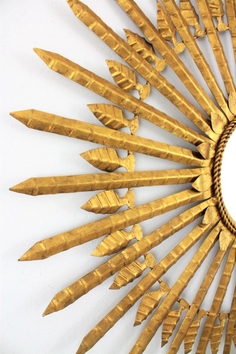 Huge Brutalist Hand-Hammered Gilt Iron Leafed Sunburst Mirror, Spain, 1950s For Sale 2