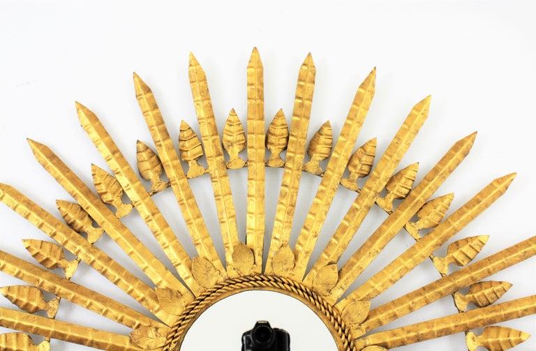 Huge Brutalist Hand-Hammered Gilt Iron Leafed Sunburst Mirror, Spain, 1950s For Sale 3