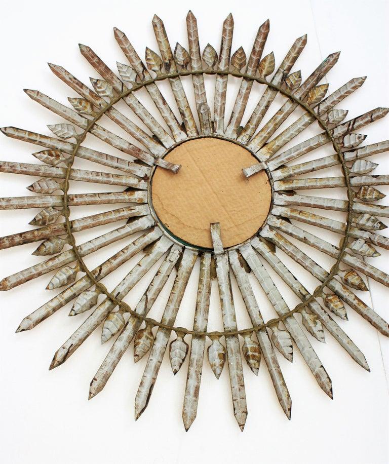 Huge Brutalist Hand-Hammered Gilt Iron Leafed Sunburst Mirror, Spain, 1950s For Sale 4