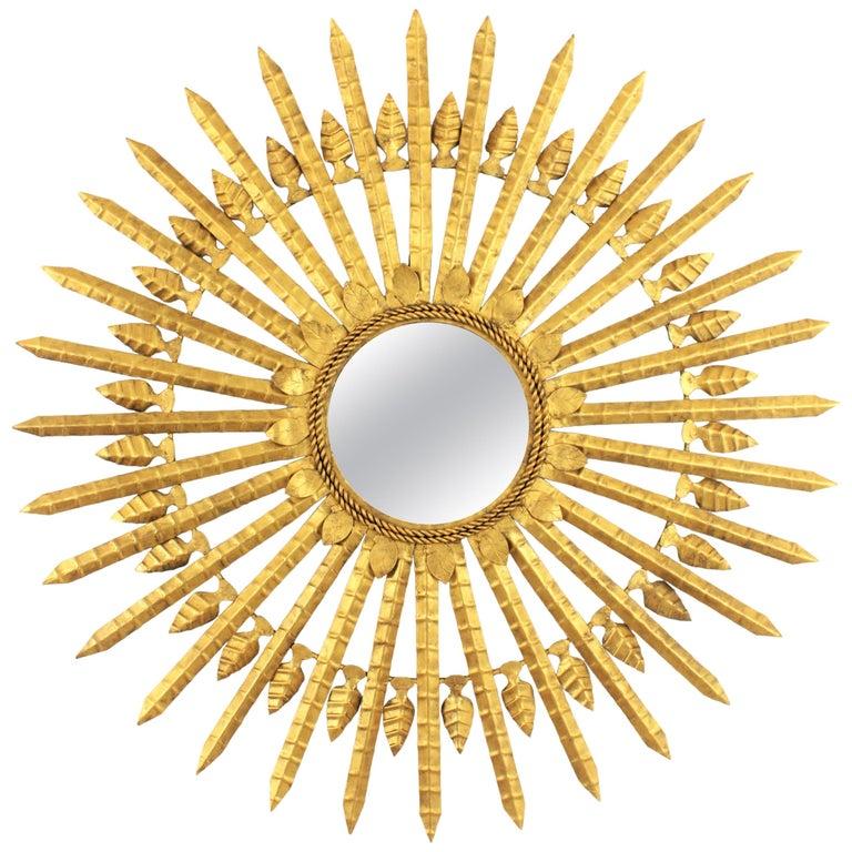 Huge Brutalist Hand-Hammered Gilt Iron Leafed Sunburst Mirror, Spain, 1950s For Sale