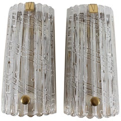 Huge Carl Fagerlund Vintage Pair of Glass Wall Sconces, Orrefors in Sweden, 1960