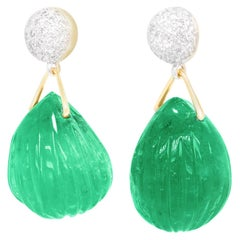 Huge Carved Emerald and Diamond-set Gold Earrings