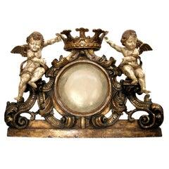 Huge Carved Italian Heraldic Crest over Door with Angels by Randy Esada Designs