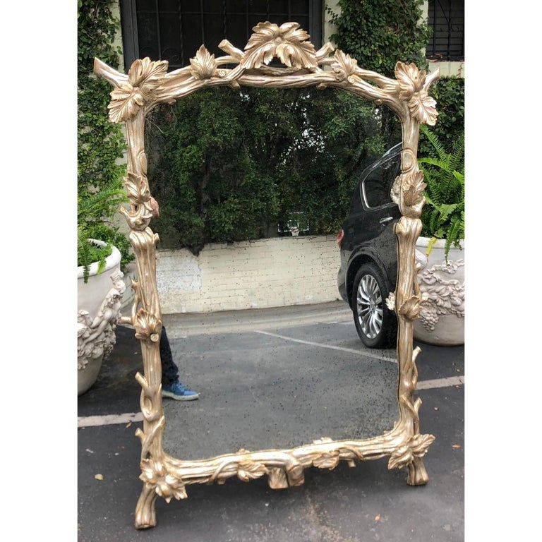 Huge carved silver-leaf designer mirror W grapevine & leaf by Charles Pollock.