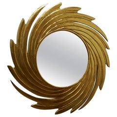 Huge Carved Sunburst Swirl Gilt Mirror