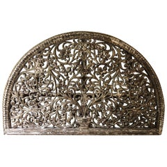 Huge Carved Wooden Wall Hanging or Headboard