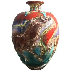 Huge Ceramic Vase Signed Ghersi Albisola, 1976