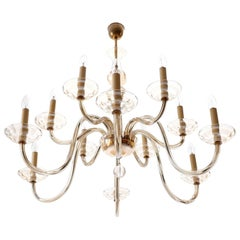 Huge Chandelier by Lobmeyr, Brass Amber Glass, Austria, Art Deco, 1930