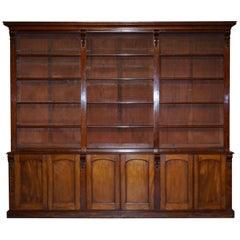 Huge circa 1860 Antique Victorian Walnut Library Study Bookcase Cupboard Base