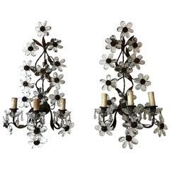 Huge Clear Flower Maison Baguès Style Three-Light Sconces