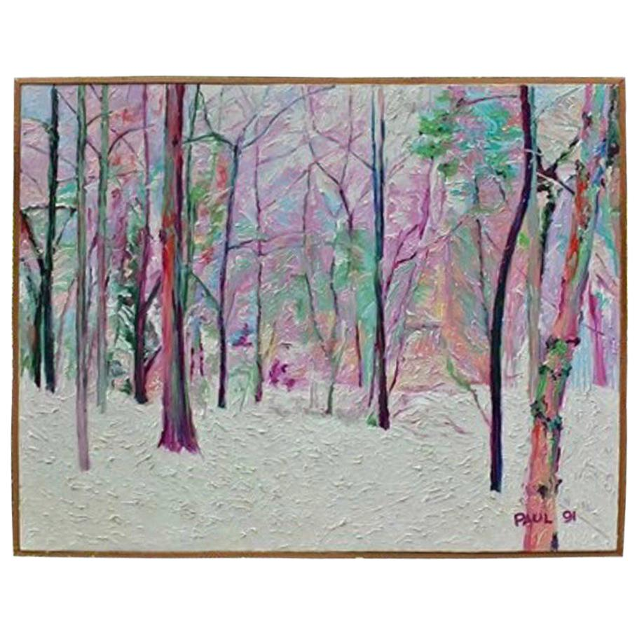Monumental  5' x 6' Colorful Modern Impasto Painting of Winter Scene