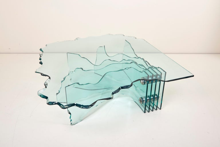 Huge Crystal Cut Glass Shell Coffee Table by Danny Lane for Fiam For Sale 5