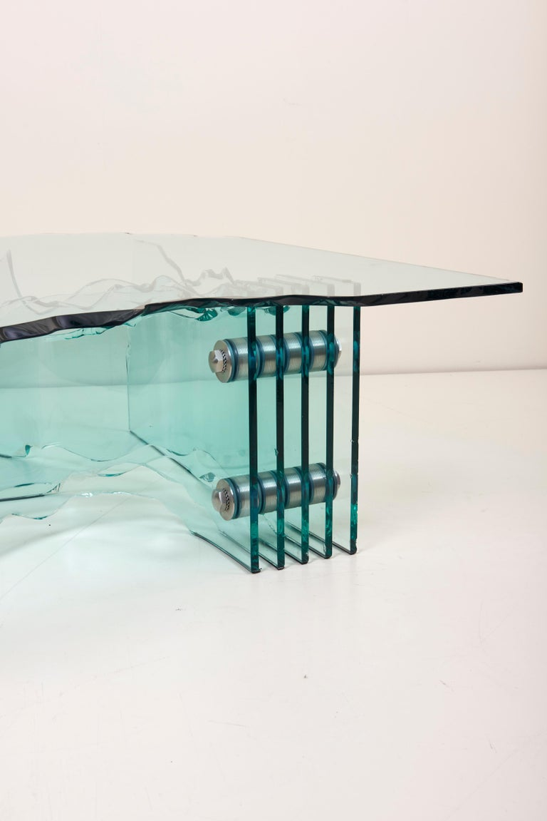 Huge Crystal Cut Glass Shell Coffee Table by Danny Lane for Fiam For Sale 6