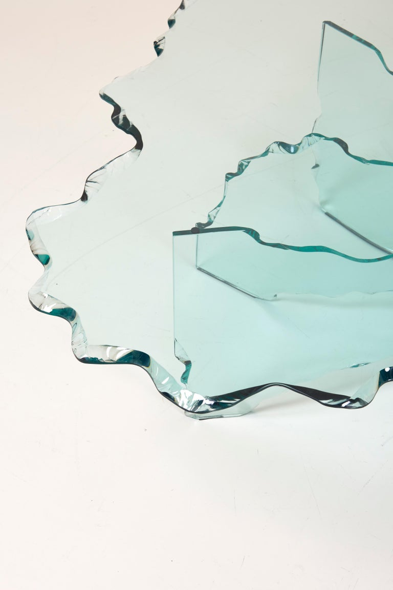 Huge Crystal Cut Glass Shell Coffee Table by Danny Lane for Fiam For Sale 8