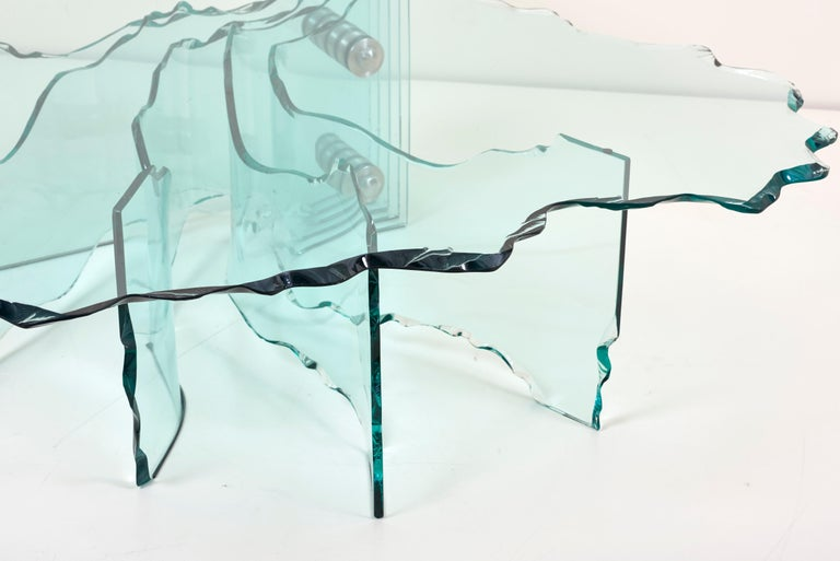 Mid-Century Modern Huge Crystal Cut Glass Shell Coffee Table by Danny Lane for Fiam For Sale
