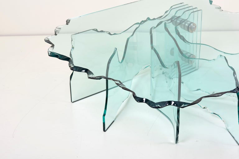 Huge Crystal Cut Glass Shell Coffee Table by Danny Lane for Fiam In Good Condition For Sale In Berlin, DE