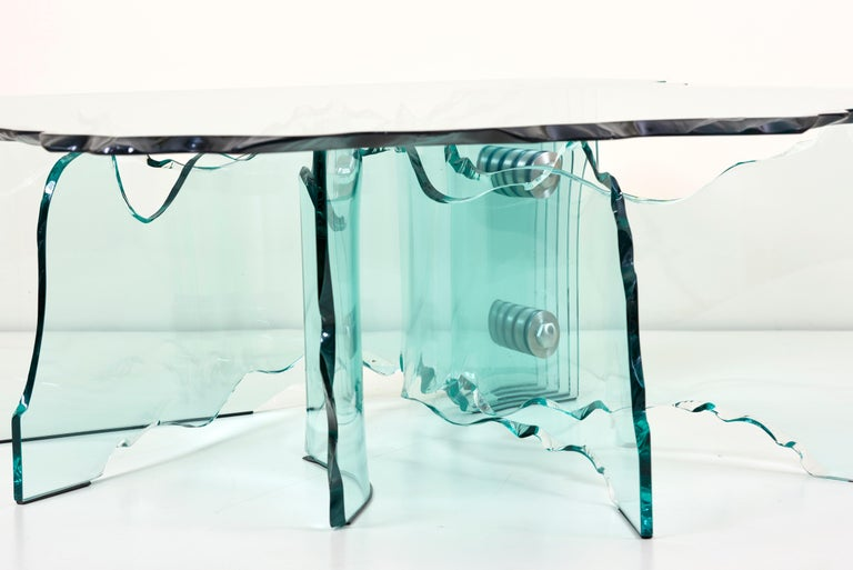 Late 20th Century Huge Crystal Cut Glass Shell Coffee Table by Danny Lane for Fiam For Sale