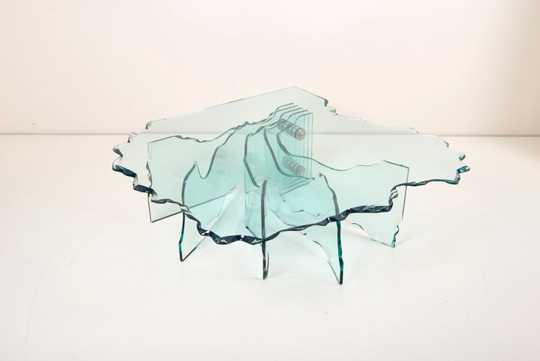 Huge Crystal Cut Glass Shell Coffee Table by Danny Lane for Fiam For Sale 2