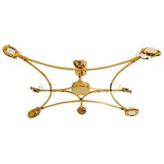 "Huge Custom Made Solid Brass and Glass Flushmount Chandelier ""Jewel"""