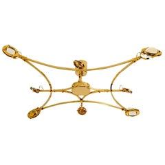 "Huge Custom Made Solid Brass and Glass Flush Mount Chandelier ""Jewel"""