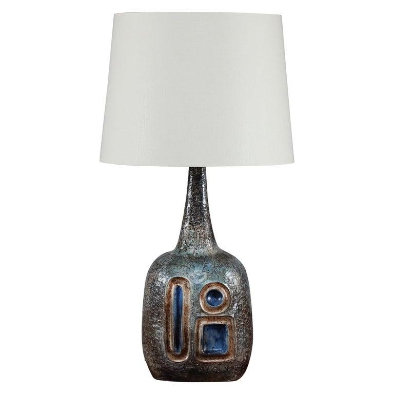 H 35 inch Huge Danish Brutalist Sejer Ceramic Sculptural Table Lamp, 1960s For Sale