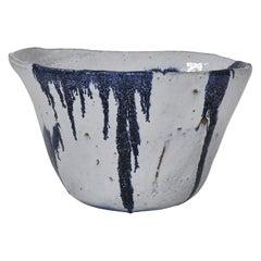 Huge Danish Modern Blue White Stoneware Bowl by Ole Bjørn Krüger, 1960s