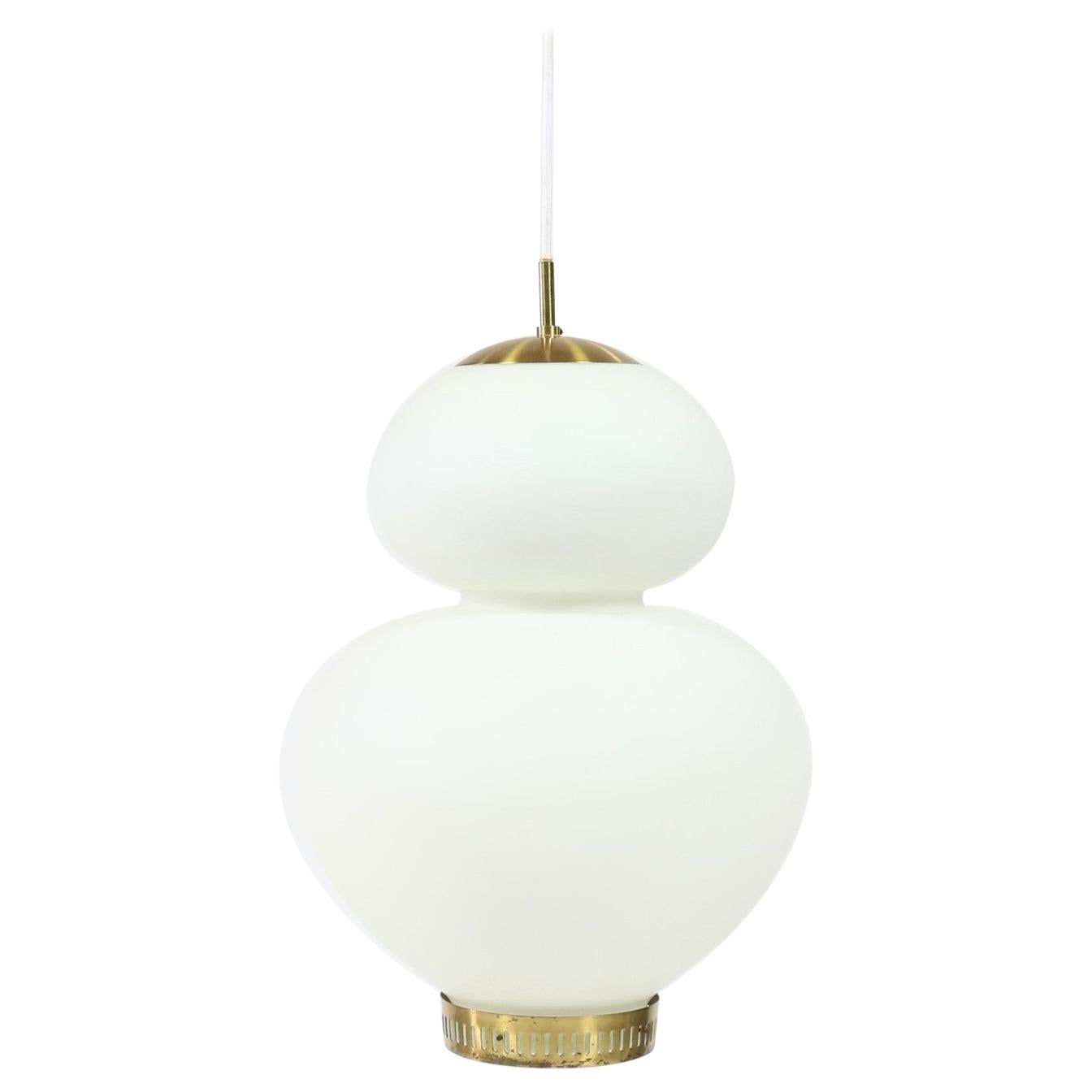 "Huge Danish Modern Brass and Opal Glass ""Peanut"" Pendant by Bent Karlby for LYFA"