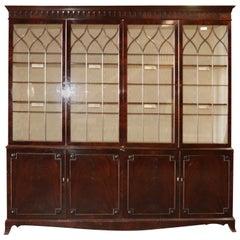 Huge Deep Custom Made Flame Mahogany Sheraton Style Breakfront Bookcase